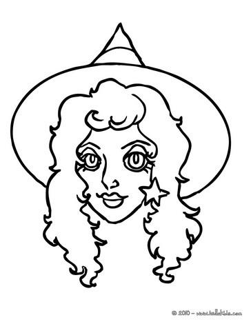 Desenhos Para Colorir De Desenho Do Rosto Bonito De Uma Bruxa Para