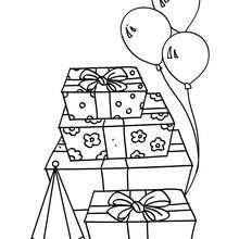 Desenho de presentes de aniversário para colorir