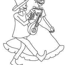 Desenho de um casal de esqueletos dançando para colorir