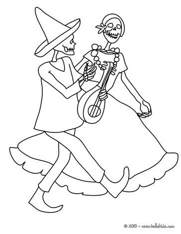 Desenho de um casal de esqueletos dan�ando para colorir