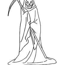 Desenho de um esqueleto com uma manta para colorir