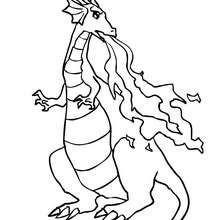 Desenho de um Dragão cuspindo fogo para colorir