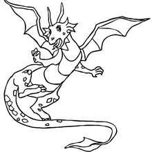 Desenho de um Dragão voando para colorir