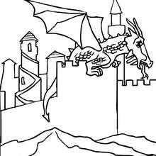 Desenho de um Dragão tomando conta do castelo para colorir