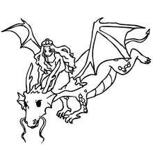 Desenho de um Dragão salvando uma princesa para colorir
