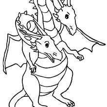 Desenho de um Dragão com duas cabeças para colorir