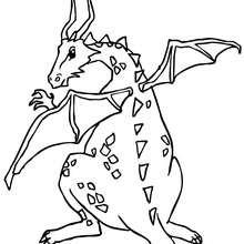 Desenho de um Dragão com asas para colorir