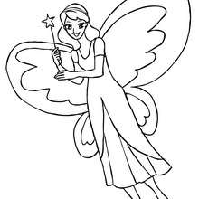 Desenho de uma fada com enormes asas de borboleta para colorir