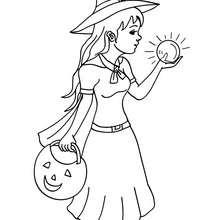 Desenho de uma Bruxa olhando dentro da sua bola de cristal para colorir