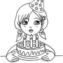Desenho de para colorir de uma menina assoprando as velas do seu bolo de aniversário