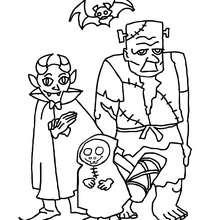 Desenho de um grupo de monstros do Dia das Bruxas para colorir