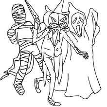 Desenho de um grupo de monstros horripilantes do Dia das Bruxas para colorir