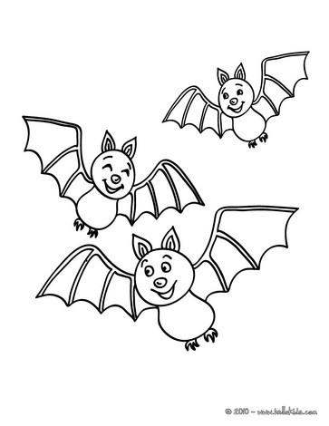 Desenho de morcegos voando para colorir