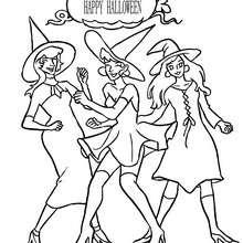 Desenho de um grupo de bruxas se divertindo para colorir