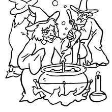 Desenho de um grupo de bruxas preparando uma poção maléfica para colorir