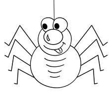 Desenho de uma aranha com a línguapra fora para colorir