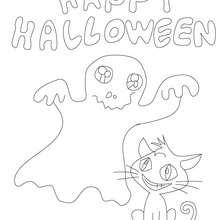 Feliz Dia das Bruxas com um fantasma e um gato para colorir