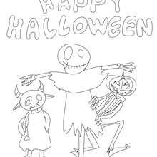 Feliz Dia das Bruxas com um espantalho e uma abóbora para colorir