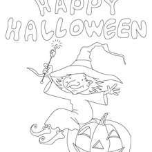 Feliz Dia das Bruxas com uma bruxa e uma abóbora para colorir