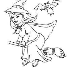 Desenho de uma bruxa feliz voando com sua vassoura para colorir