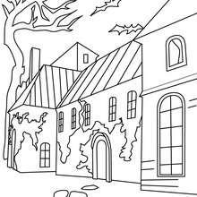 Desenho de uma  casa mal asssombrada no Dia das Bruxas para colorir