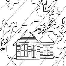 Desenho de uma  casa mal asssombrada num dia chuvoso para colorir