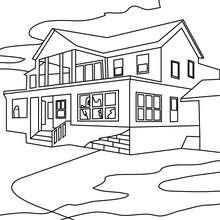 Desenho de uma casa mal asssombrada para colorir online