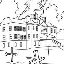 Desenho de um castelo mal asssombrado para colorir