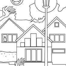 Desenho de uma casa mal asssombrada a noite para colorir