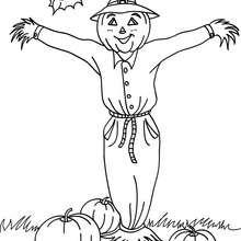 Desenho de um espantalho do Dia das Bruxas para colorir