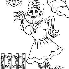 Desenho de um espantalho com uma aranha para colorir