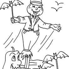 Desenho do espantalho com seus amigos do Dia das Bruxas para colorir
