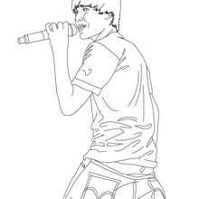 Desenho do Justin Bieber cantando para colorir
