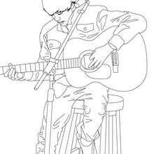 Desenho do Justin Bieber tocando guitarra para colorir