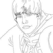 Desenho do retrato do Justin Bieber para colorir