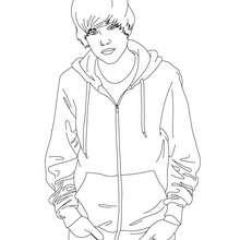 Desenho do Justin Bieber com suas mãos nos bolsos para colorir
