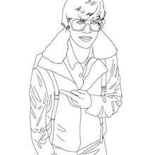 Desenho do Justin Bieber de óculos para colorir