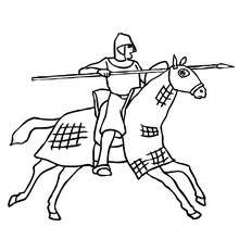Desenho de um cavaleiro montando a cavalo para colorir