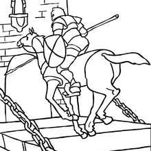 Desenho de um cavaleiro andando a cavalo bos uma ponte levadiça para colorir