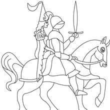 Desenho de um cavaleiro em um cavalo com uma princesa para colorir