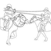 Desenho de cavaleiros lutando em seus cavalos para colorir