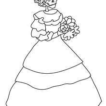 Desenho do esqueleto da Catrina para colorir