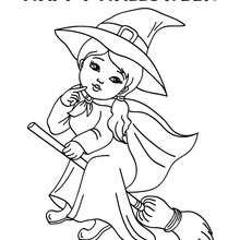 FELIZ DIA DAS BRUXAS com uma bruxinha para colorir