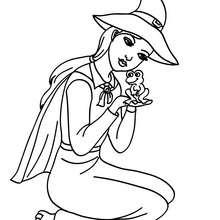 Desenho de uma adorável bruxinha segurando um sapo para colorir