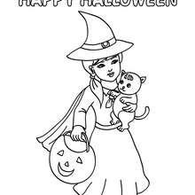 Feliz Dia das Bruxas com uma bruxa e um gato para colorir