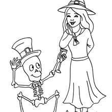 Desenho de uma bruxa com um esqueleto engraçado para colorir