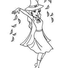 Desenho de uma bruxa adorável fazendo uma maldição para colorir