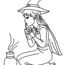 Desenho de uma bruxa adorável provando uma poção para colorir