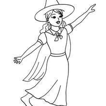 Desenho de uma adorável bruxinha para colorir