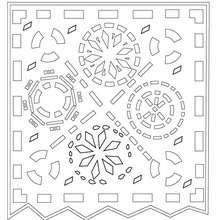Desenho de um papél de decoração para recortar e colorir
